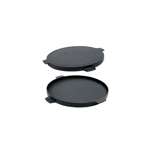 BGE Cast Iron Plancha Griddle Dual Sided w Handles 10.5""