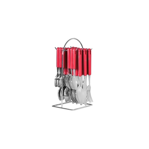 Avanti 24 Piece Hanging Cutlery with Wire Frame Red